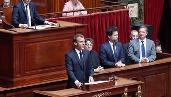 Der französische Präsident Emanuel Macron hielt am Montag eine Grundsatzrede vor dem Parlament.