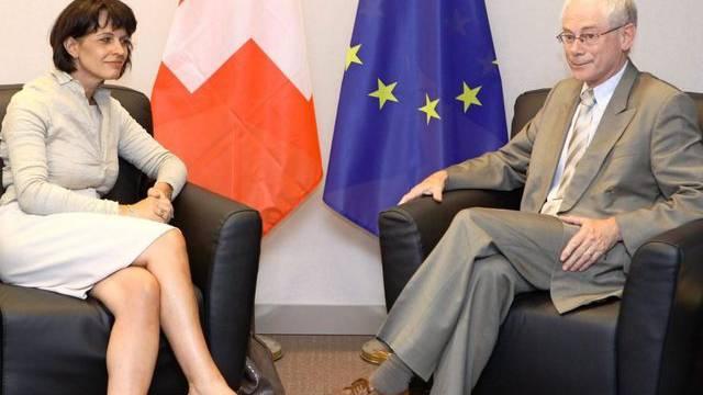 Haben viel zu besprechen: Leuthard und Van Rompuy in Brüssel