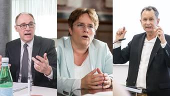 Sie sind sich uneinig, wenn es um den Rahmenvertrag geht: Hansjörg Knecht, Magdalena Martullo-Blocher und Philipp Müller (v.l.)
