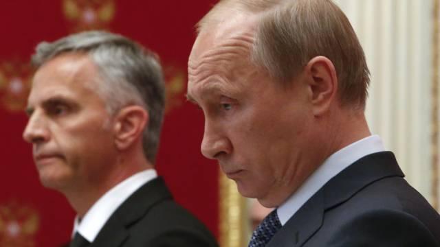 Bundespräsident Burkhalter (l.) im Mai bei Putin in Moskau