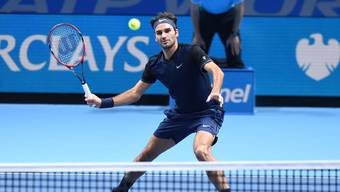Roger Federer gegen Kei Nishikori im letztenGruppenspiel der ATP-Finals 2015