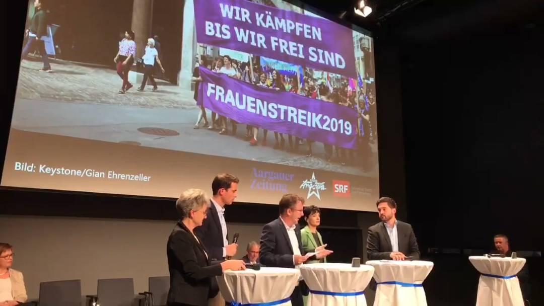 Podium mit den Aargauer Ständeratskandidaten vom 19.9. in Baden – Gleichberechtigung
