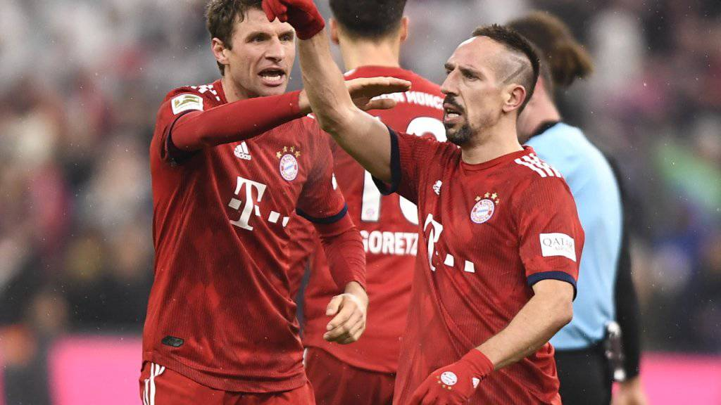 Franck Ribéry feiert den späten Siegtreffer gegen Leipzig