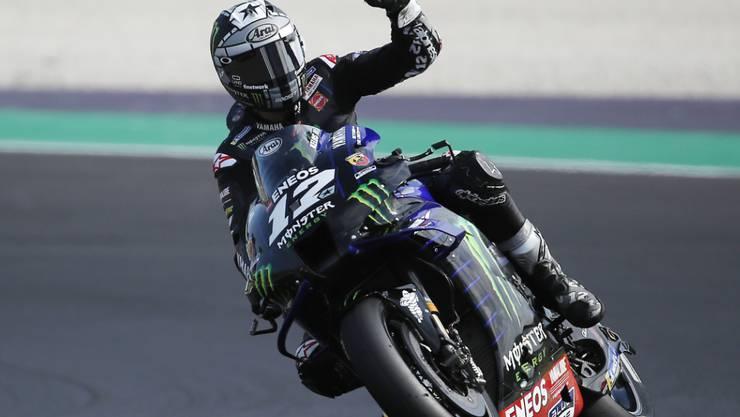 Konnte nach einem Jahr wieder einmal über einen GP-Sieg jubeln: Der spanische Yamaha-Fahrer Maverick Viñales war auf dem Circuit in Misano am schnellsten