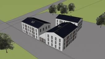 Visualisierung des in Realisierung begriffenen Neubaus mit Sonnenkollektoren.