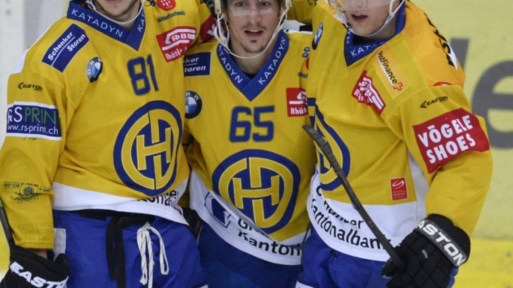 Alexandre Picard, Marc Wieser und Perttu Lindgren (von links) bilden beim Schweizer Meister HC Davos eine gefährliche Sturmlinie. Kann das Trio auch in den Playoff-Halbfinals gegen den SC Bern überzeugen?