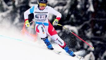 Fabien Sutter wird bei der Abfahrt in Garmisch Zweite.