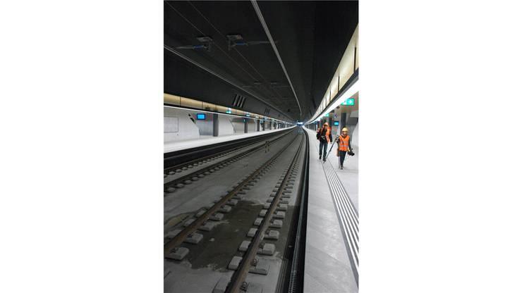 Die Perrons des neuen Bahnhofs sind 500 Meter lang.