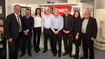 Von links: Pierino Menna, Peter Gehrig Alexandra Oppliger, Kurt Heutschi (Preisträger), Beat Gehrig, Stephan Berger, Karin Baumgartner-Gehrig, Willy Hafner.