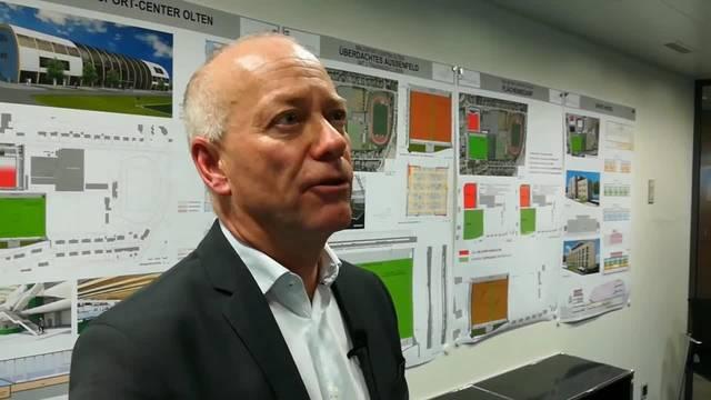 Olten soll ein neues Ballsport-Center erhalten – Die Stimmen von Mitinitiant Marc Thommen und Stadtpräsident Martin Wey aus der Medienkonferenz