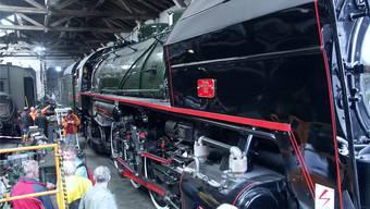 Die gigantische Mikado 141 R 1244 ist im Brugger Bahnpark stationiert und dort zu bewundern.