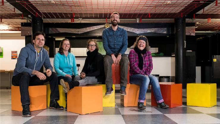 Mitarbeiter der Jugendarbeit Buchs, Suhr und Gränichen sind voller Tatendrang: (V.l.) Jan Götschi, Marianne Mischler, Eveline Zeder, Roger Gafner, Daniela Gassmann.
