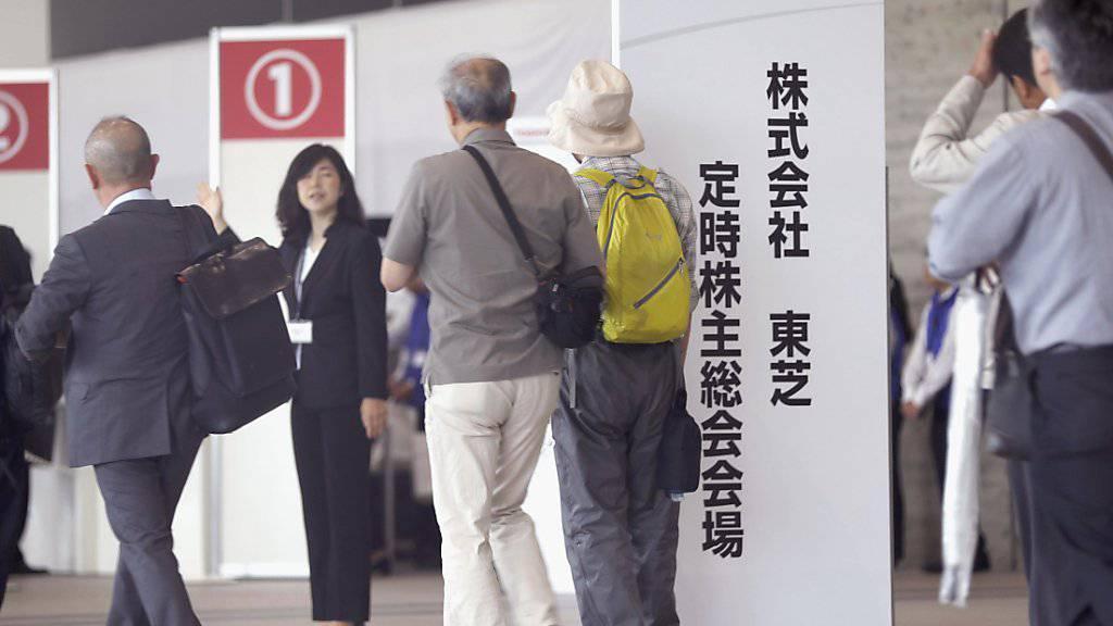 Toshiba will den Schweizer Stromproduzenten Landis+Gyr los werden - sei es über einen Verkauf oder einen Börsengang. (Symbolbild von einer Aktionärsveranstaltung)