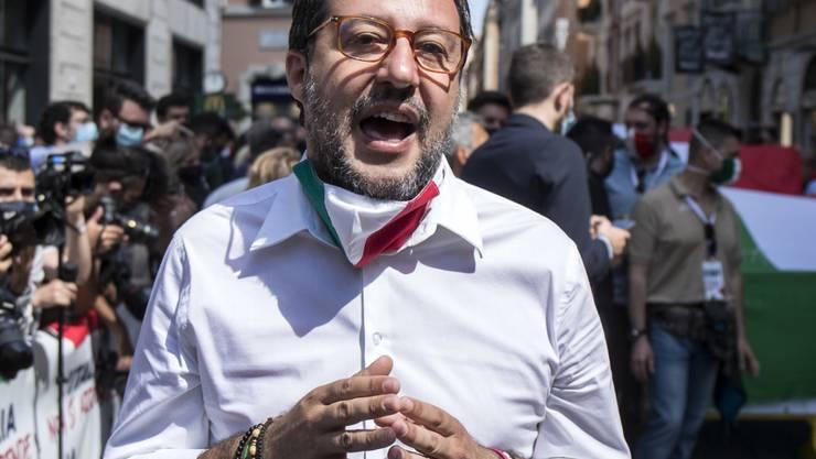 Matteo Salvini, Vorsitzender der Lega,  bei einer Demonstration. Foto: Roberto Monaldo.Lapress/LaPresse via ZUMA Press/dpa