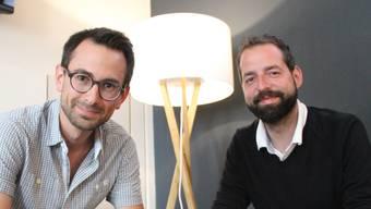 Simon Huwiler (links) und Markus Markwalder mit ihrem praktischen Ratgeber «Der perfekte Event». Andrea Weibel