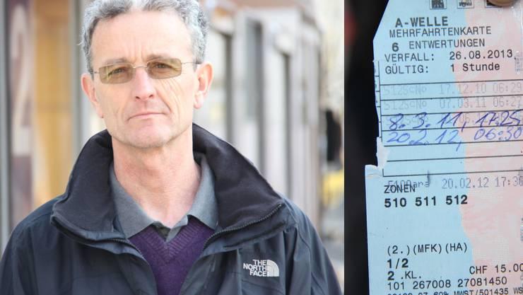 Richard Lustenberger ist der Meinung, dass er seine Fahrt mit der handschriftlichen Entwertung bezahlte.