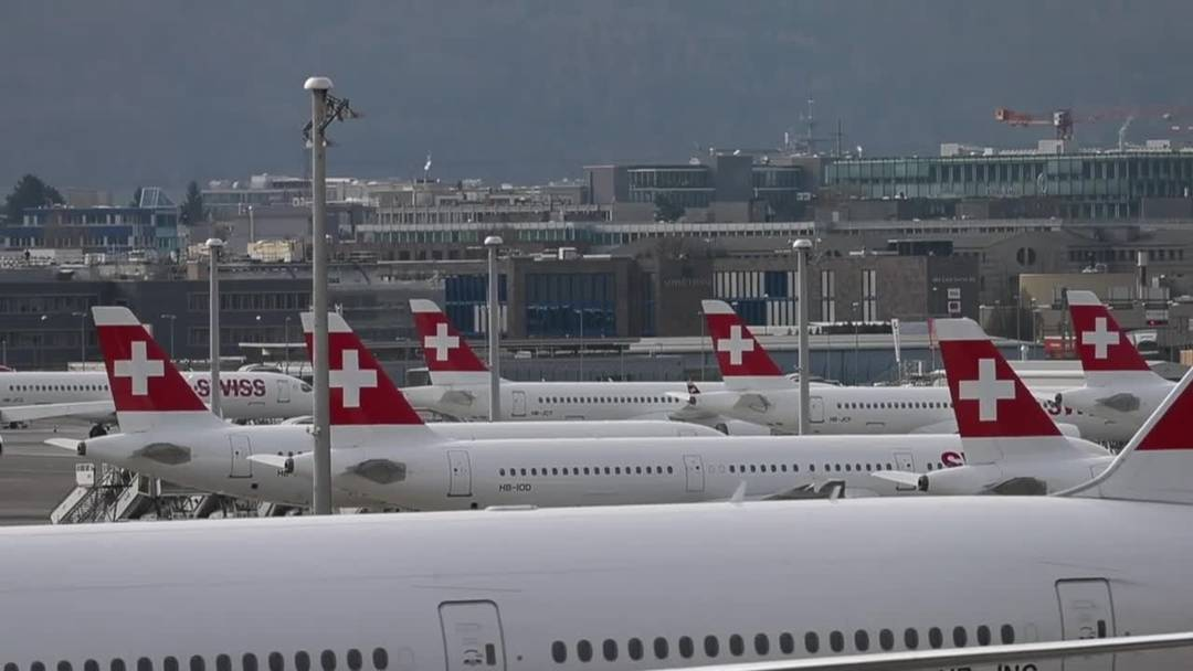 So viele Swiss-Flieger hat man am Flughafen Zürich noch nie gesehen (17.3.2020)