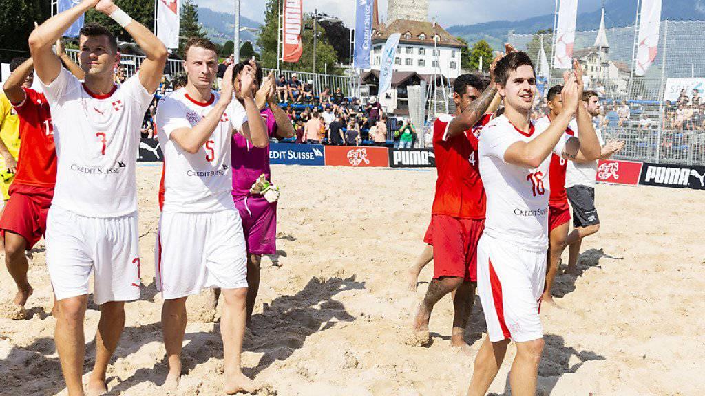 Die Schweizer Beachsoccer-Nationalmannschaft verabschiedet sich mit Bronze aus Minsk