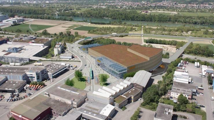 Blickfang und Knacknuss der 14er-Verlängerung Salina Raurica: Die Trambrücke über die A2, samt geplantem Obi-Neubau.