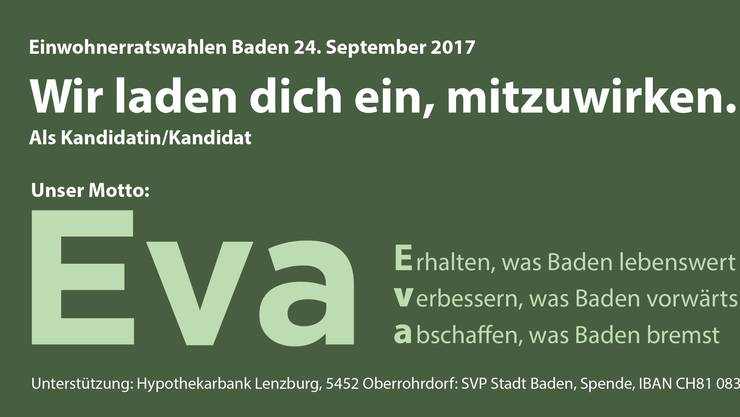 Heute in den Badener Briefkasten gelandet: Der SVP-Wahlflyer.