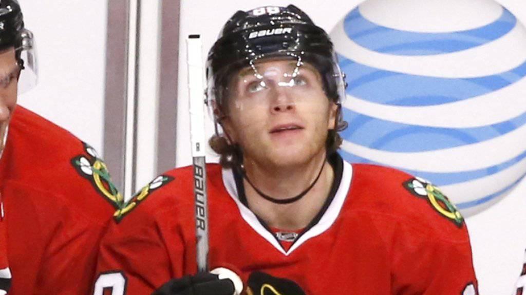 Chicagos Patrick Kane skorte in der NHL bereits im 23. Spiel in Folge