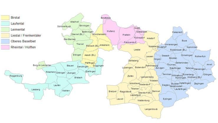 Regionplanung Baselland: So sieht der Kanton die künftigen Regionen.