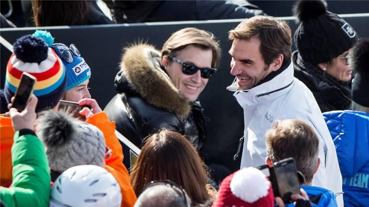 Die Ski-WM 2017 in St. Moritz besuchte Roger Federer spontan mit Familie und Freunden.