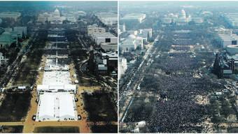 Der Pressesprecher des Weissen Hauses behauptete nach Trumps Amtseinsetzung (links): «Das war das grösste Publikum, das jemals bei einer Vereidigung dabei war.» Bild rechts zeigt die Vereidigung Obamas.