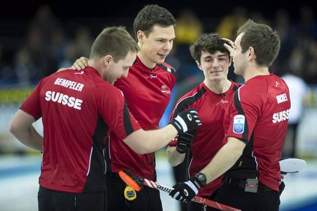 Schweizer Curler feiern den EM-Sieg