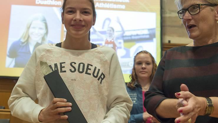 Delia Sclabas (links) sorgt im Lager der Juniorinnen weiter für Furore und holte mit Schweizer U20-Rekord Junioren-WM-Bronze über 800 m