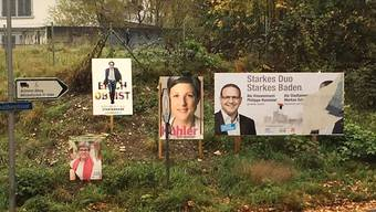 In mehreren Badener Quartieren wurde das Bild von Schneiders Kopf auf Plakaten abgerissen, hier beim Schadenmühlestich. ZVG