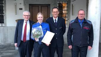 Von links: Stadtpräsident Kurt Fluri, Jeanine Blaser, Peter Fedeli, Kommandant Stadtpolizei und Walter Lüdi, Dienstchef Sicherheit und Verkehr