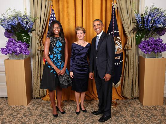 September 2016: Bundespräsidentin Simonetta Sommaruga beim Empfang durch Michelle und Barack Obama in New York.