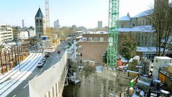 U-Bahn-Baustelle beim Heumarkt Köln. Bei Eintritt der Schneeschmelze droht Einsturzgefahr.