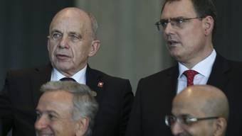 Bundesrat Ueli Maurer (links) und Nationalbank-Chef Thomas Jordan vertraten die Schweiz beim Treffen der G20-Finanzminister in Buenos Aires.