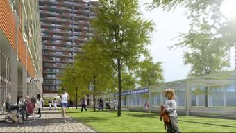 Direkt beim geplanten «Tivoli Garten» in Spreitenbach ist auch eine Haltestelle der Limmattalbahn vorgesehen, wie diese Visualisierung zeigt.
