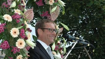Werner Guhl, Bürgermeister von Rottweil, begeisterte das Publikum an der Morgenfeier des Rutenzugs