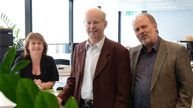 Stadtpräsident Brühlmann und Geschäftsleiter Studer im Stadtbüro.fni