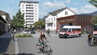So könnte der Bahnhofplatz dereinst aussehen, stimmt der Souverän dem Projekt zu.