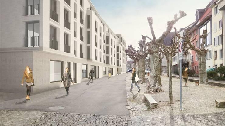 Die Visualisierung zeigt die Schulthess-Allee mit dem Wohnhaus II (links) und die zentralisierte Stadtverwaltung (hinten).