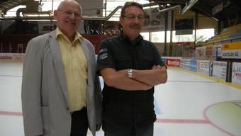 Kunsteisbahn Langenthal AG, Betriebsleiter Alfred Marending und Präsident Hans Beer (links) in der Eishalle Schoren, Langenthal