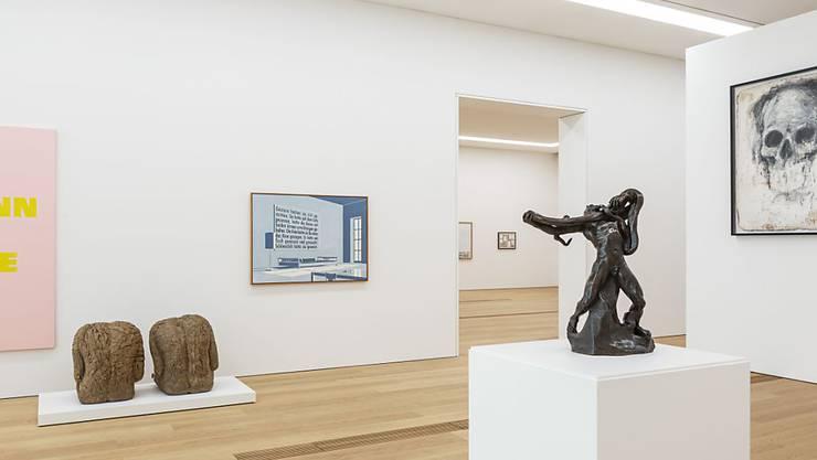 """Sicht in das Ende September 2019 neu eröffnete Kunsthaus in Lausanne. Die Ausstellung """"Atlas. Kartographie des Schenkens"""" dauert vom 5. Oktober 2019 bis 12. Januar 2020."""