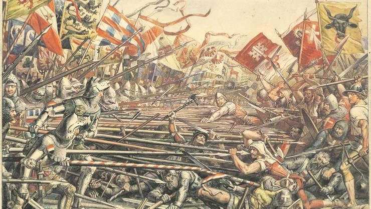 Schlacht bei Sempach, Winkelried (Mitte, mit ausgestreckten Armen) wirft sich in die Lanzen – diente das Bild als Inspiration für «Herr der Ringe»?