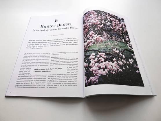 Der Artikel im Reisemagazi Transhelvetica bezeichnet Baden als die «Stadt der immer blühenden Bäume»