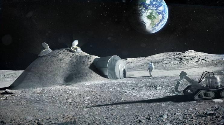 Künstlerische Darstellung einer Mine auf dem Mond.