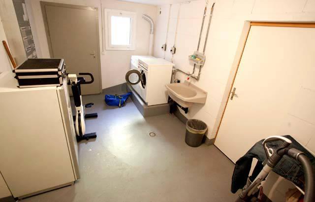 Der Wasch und Fitnessbereich im Kellergeschoss.