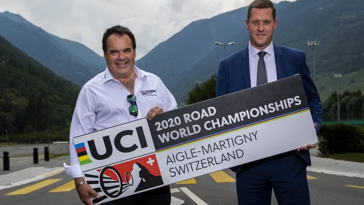Die beiden OK-Präsidenten der abgeblasenen Rad-WM, Grégory Devaud (rechts) und Alexandre Debons.