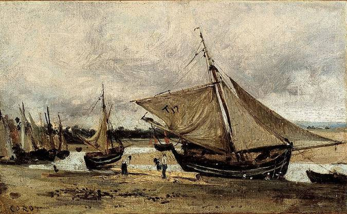 Camille Corot, Trouville, in der Fahrrinne gestrandete Fischerboote, 1830/40.