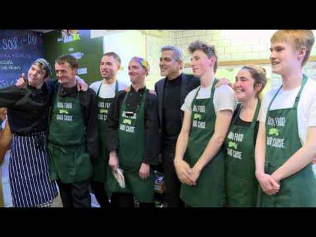 George Clooney meets former Big Issue vendors at Social Bite shop in Edinburgh sandwich shop