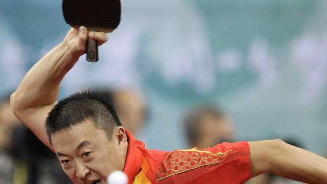 Voller Einsatz: Der chinesische Tischtennisspieler und Olympiasieger Ma Lin bei den Olympischen Spielen in Peking